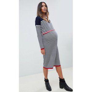 Navy/White Striped Maternity/Breastfeeding Dress